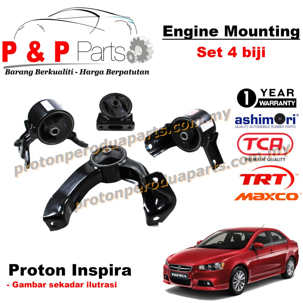 Engine Mounting - 4pcs set - Proton Inspira 1.8 2.0 - 1 Year Warranty