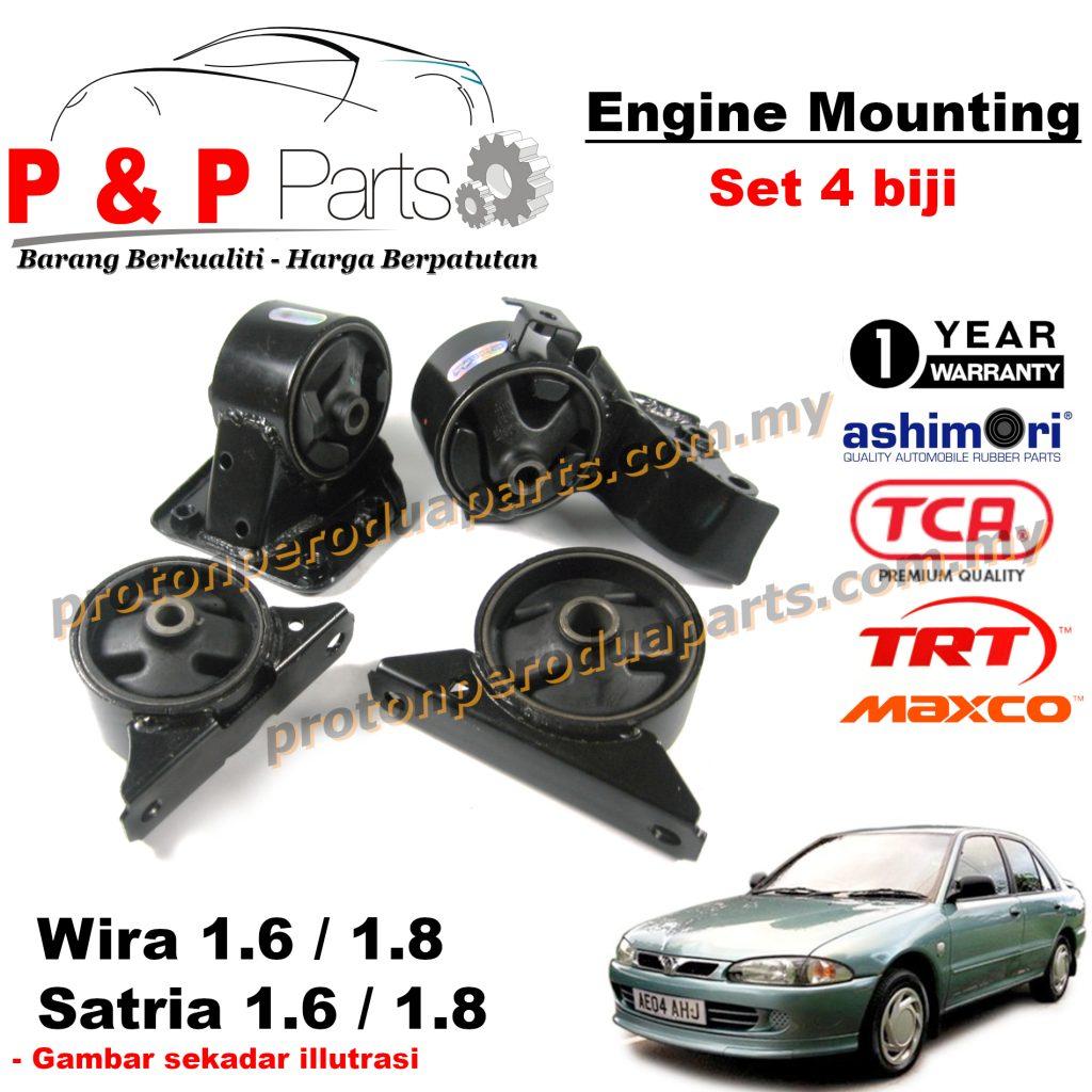 Engine Mounting - 4pcs SET - Proton Wira Satria Old Putra 1.6 1.8 - 1 Year Warranty