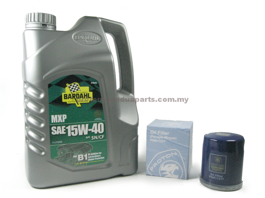 Bardahl 15W40 Engine Oil 4 Liters Minyak Enjin 15 40 + Oil Filter for Proton Cars - Minyak Hitam