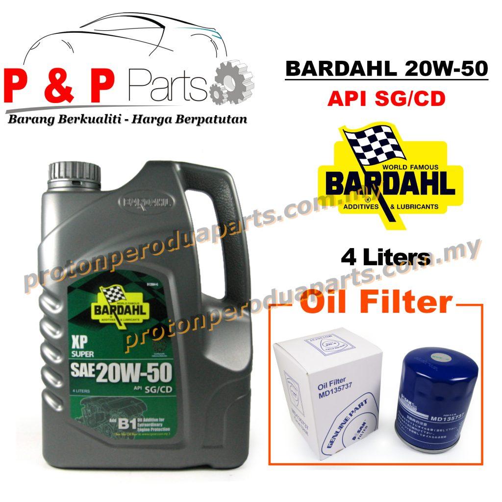 Bardahl 20W50 Engine Oil 4 Liters Minyak Enjin 20 50 + Oil Filter for Proton Cars - Minyak Hitam