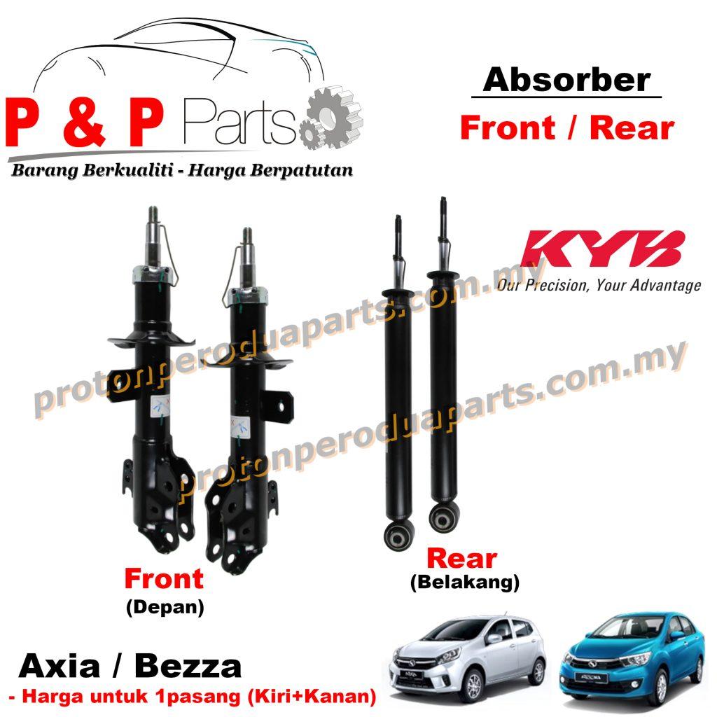 KYB Front Rear Shock Absorber Depan Belakang For Perodua Axia Bezza  Kayaba Gas - 1pair (sepasang)