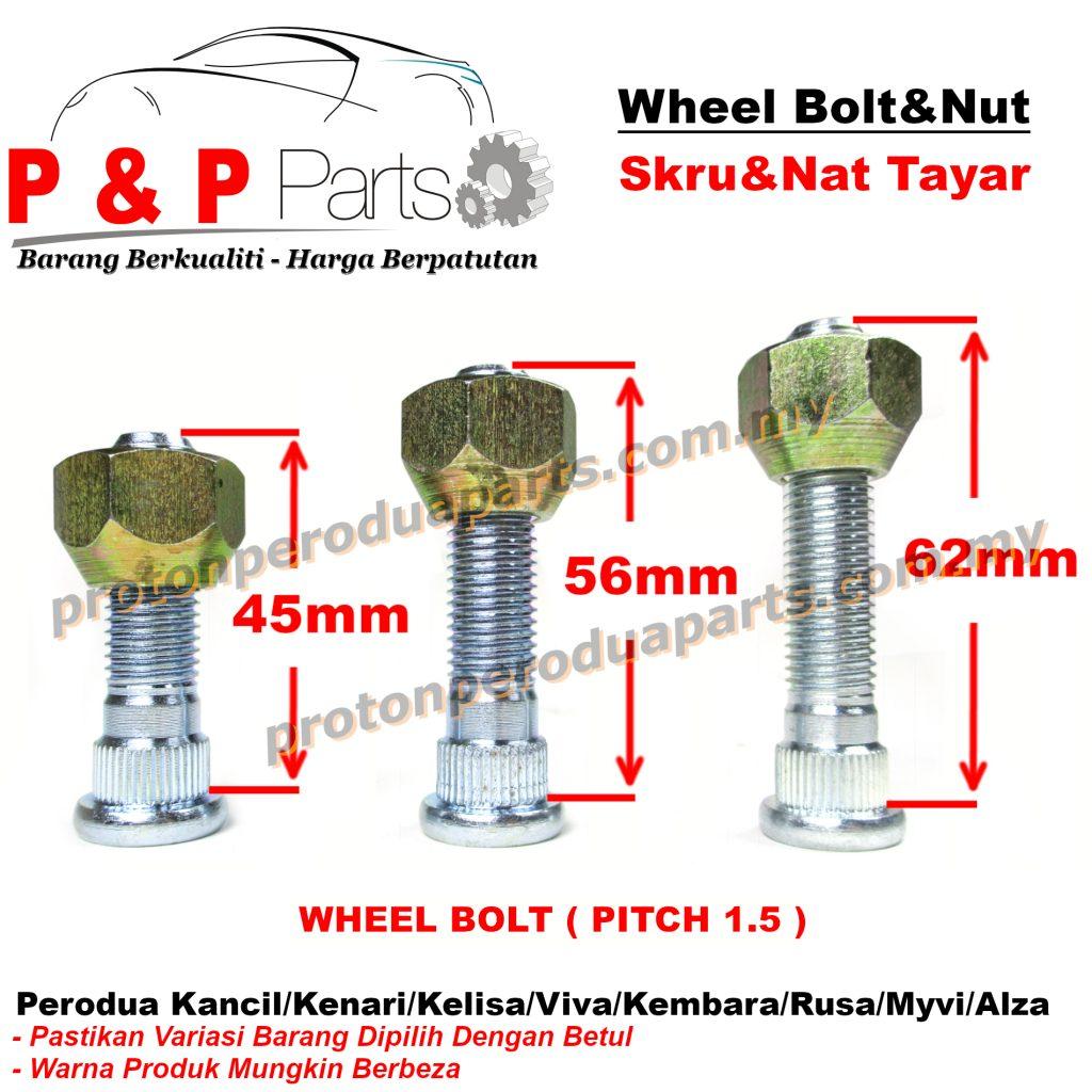Wheel Bolt And Nut Skru Nat Tayar For Perodua Kancil Kenari Kelisa Viva Kembara Rusa Myvi Alza