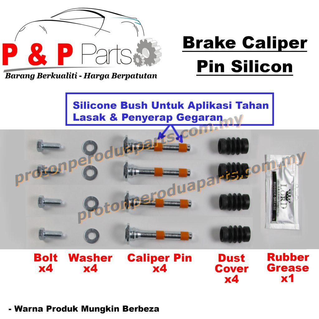 FULL SET Caliper Pin Dust Cover Front Rear Depan Belakang - Proton Wira 1.6 Gen 2 Satria Neo Gen 2 - Silicone Bush