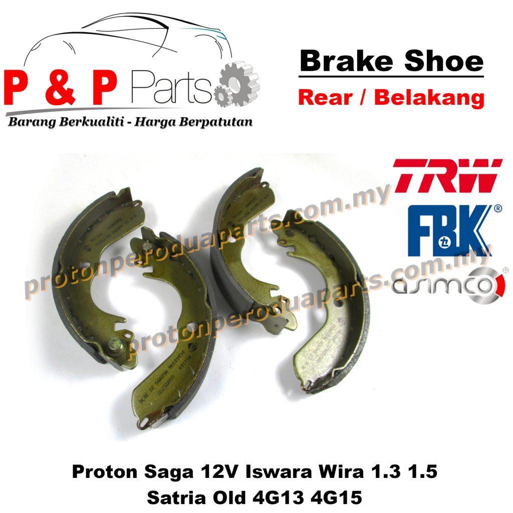 Rear Brake Shoe Lining Pad Belakang - Proton Saga 12V Iswara Wira 1.3 1.5 Satria Old 4G13 4G15