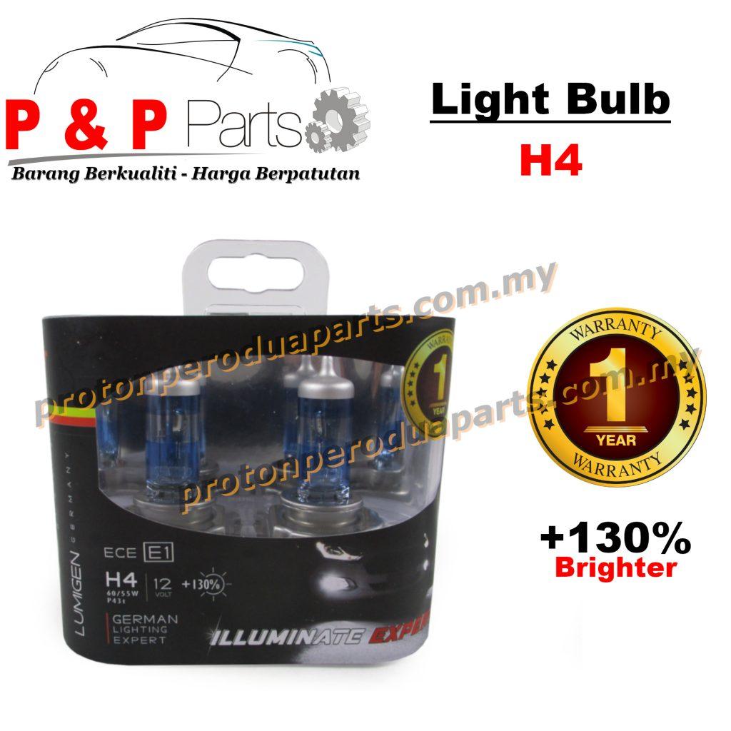 Car Light Bulb Mentol Lampu Kereta H4 12V Lumigen Extra Brightness (+130%)  - 1pair - 1 Year Warranty