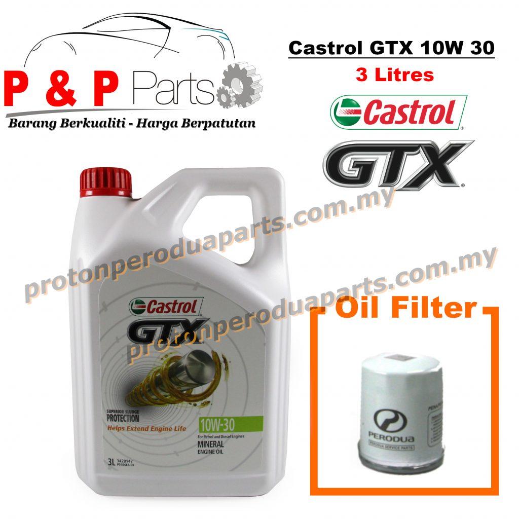 Castrol GTX 10W 30 Engine Oil 3 litres Minyak Enjin 10 30 + Oil Filter for Perodua Cars - Minyak Hitam - 3L
