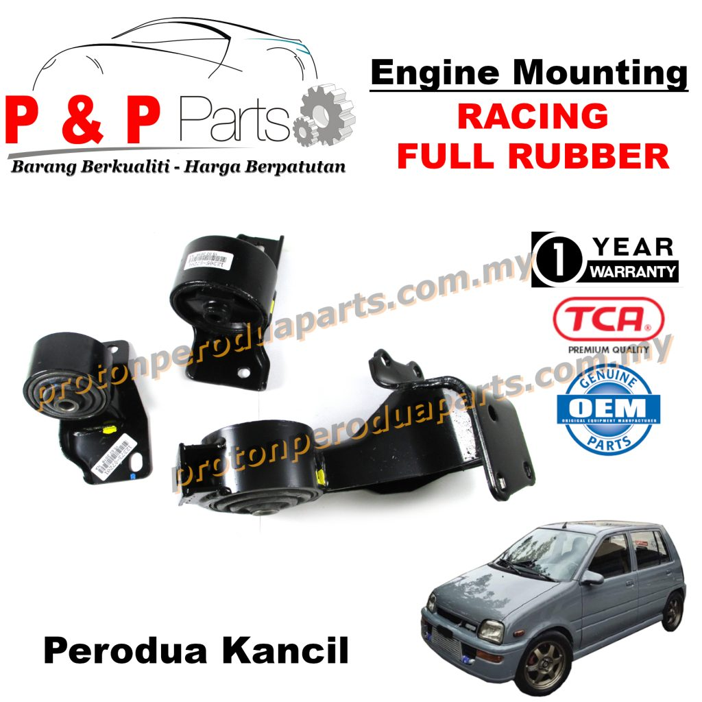 Engine Mounting Racing Full Rubber - 3pcs Set - Perodua Kancil Daihatsu Ceria - 1 Year Warranty