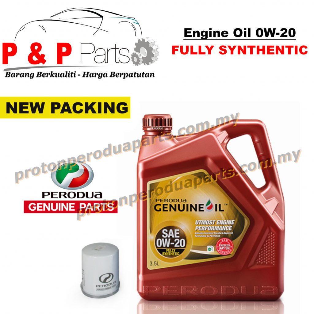 Perodua Fully Synthetic 0W 20 Engine Oil 3.5 litres Minyak Enjin 0 20 + Oil Filter for Perodua Cars - Minyak Hitam