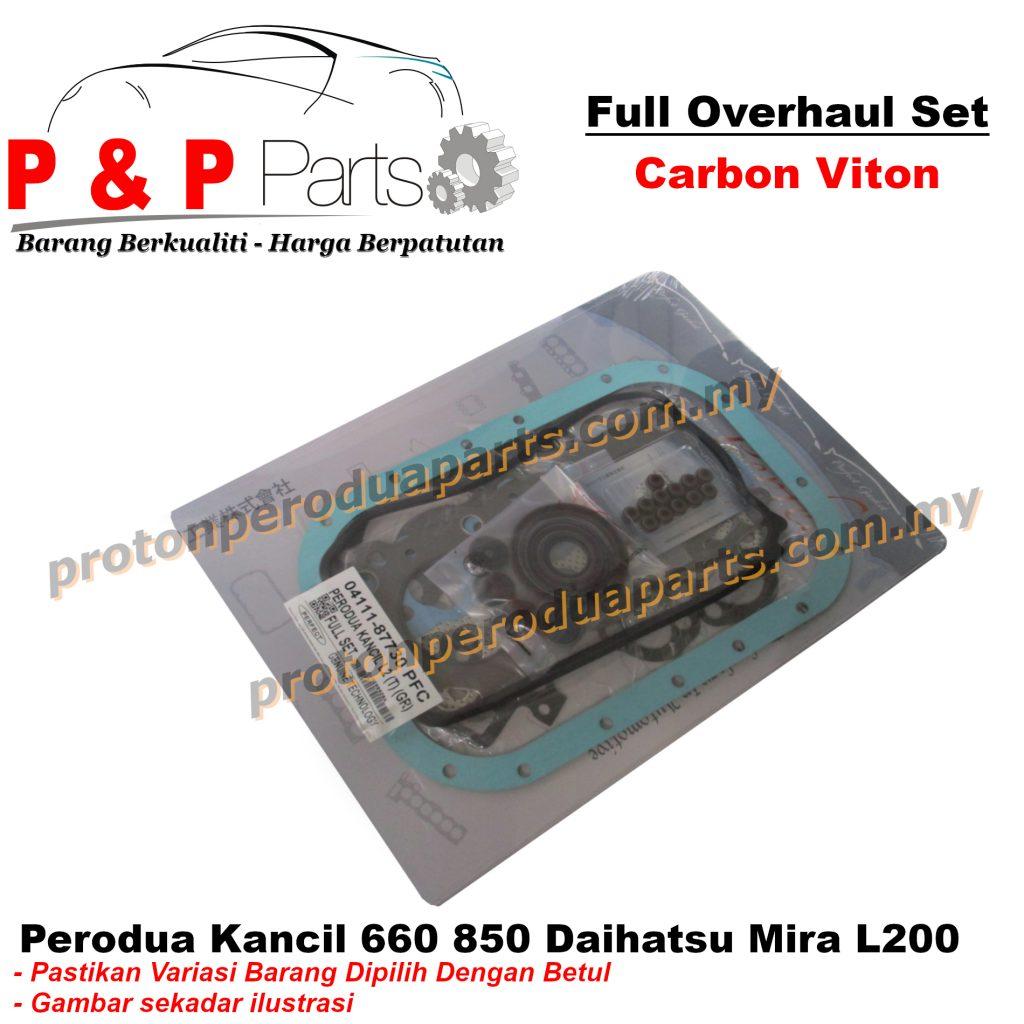 Engine Full Overhaul Gasket Set - Perodua Kancil 660 850 Daihatsu Mira L200 - Carbon Viton