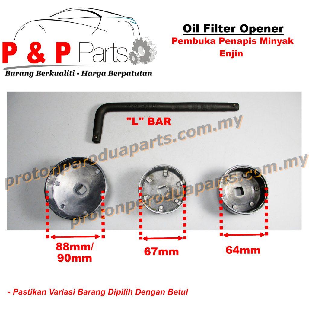Oil Filter Opener / Pembuka Penapis Minyak Hitam - Cap Type - Batang L Bar - Proton Perodua