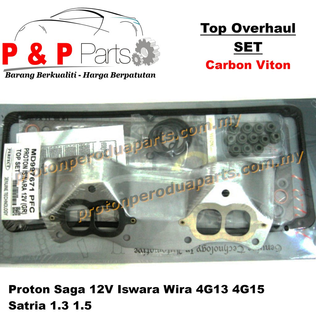 Engine Top Overhaul Gasket Set - Proton Saga 12V Iswara Wira 4G13 4G15 Satria 1.3 1.5 - Carbon Viton